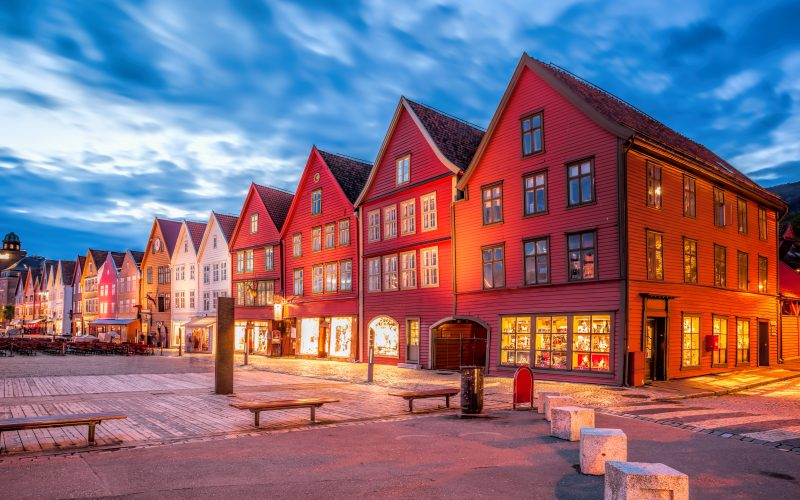 Bergen Street With Old Houses At Night In Norway, UNESCO World Heritage Site