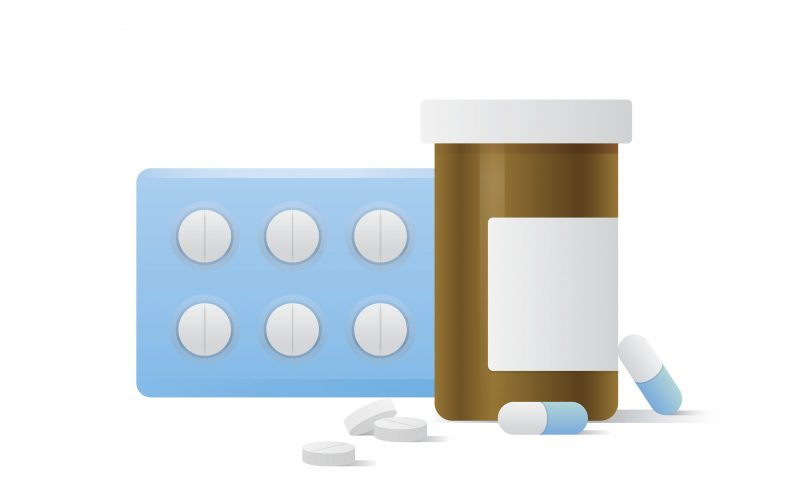 Capsule Bottle And Pills Medicine Panel Illustration Vector On White Background. Medical Concept.