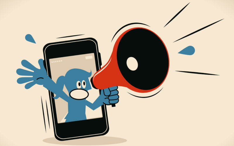 Blue Little Guy Characters Vector Art Illustration.Copy Space. Blue Woman From Smart Phone Shouting With Megaphone.